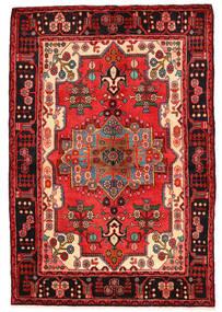 Nahavand Matta 136X200 Äkta Orientalisk Handknuten Mörkröd/Svart (Ull, Persien/Iran)