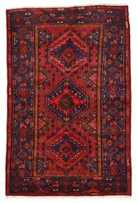 Zanjan Matta 136X208 Äkta Orientalisk Handknuten Mörklila/Mörkröd (Ull, Persien/Iran)