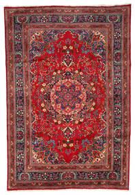 Mashad Matta 199X297 Äkta Orientalisk Handknuten Mörkröd/Mörkbrun (Ull, Persien/Iran)