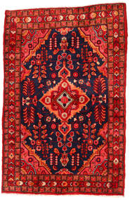 Hamadan Matta 130X205 Äkta Orientalisk Handknuten Roströd/Svart/Mörkröd (Ull, Persien/Iran)