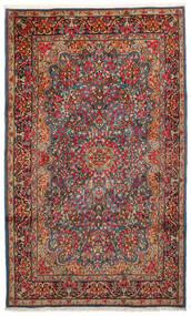 Kerman Matta 183X296 Äkta Orientalisk Handknuten Mörkbrun/Mörkröd (Ull, Persien/Iran)