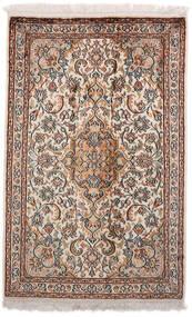 Kashmir Äkta Silke Matta 64X98 Äkta Orientalisk Handknuten Ljusgrå/Mörkbrun (Silke, Indien)