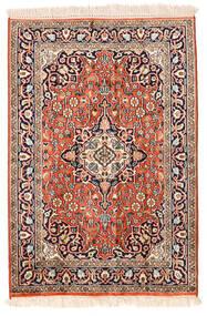 Kashmir Äkta Silke Matta 62X91 Äkta Orientalisk Handknuten Beige/Mörklila (Silke, Indien)