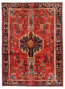 Nahavand Matta 143X197 Äkta Orientalisk Handknuten Mörkröd/Mörkbrun (Ull, Persien/Iran)