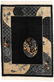 Kina 90 Line Matta 168X229 Äkta Orientalisk Handknuten Svart/Mörkgrå (Ull, Kina)