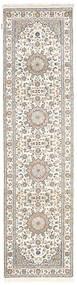 Nain Indisk Matta 79X302 Äkta Orientalisk Handknuten Hallmatta Ljusgrå/Beige/Vit/Cremefärgad ( Indien)