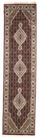 Tabriz Royal Matta 76X307 Äkta Orientalisk Handknuten Hallmatta Mörkröd/Ljusgrå ( Indien)