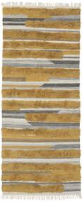 Sunny - Gul Matta 100X250 Äkta Modern Handvävd Hallmatta Brun/Mörkbrun (Ull, Indien)