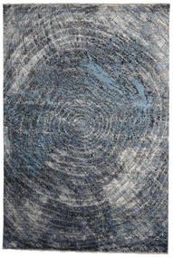 Damask Indisk Matta 237X353 Äkta Modern Handknuten Mörkgrå/Ljusblå (Ull/Bambusilke, Indien)
