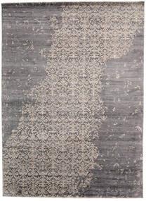 Damask Indisk Matta 268X365 Äkta Modern Handknuten Ljusgrå/Mörkbrun/Mörkgrå Stor (Ull/Bambusilke, Indien)