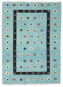 Kelim Nimbaft Matta 130X176 Äkta Modern Handvävd Turkosblå/Ljusblå (Ull, Afghanistan)