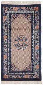 Kina 90 Line Matta 91X183 Äkta Orientalisk Handknuten Hallmatta Svart/Mörkbrun (Ull, Kina)