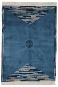 Kina 90 Line Matta 168X229 Äkta Orientalisk Handknuten Mörkblå/Svart (Ull, Kina)