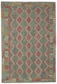 Kelim Afghan Old Style Matta 202X294 Äkta Orientalisk Handvävd Mörkgrön (Ull, Afghanistan)