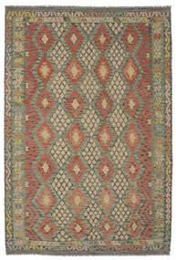 Kelim Afghan Old Style Matta 199X294 Äkta Orientalisk Handvävd Mörkgrön/Mörkbrun (Ull, Afghanistan)