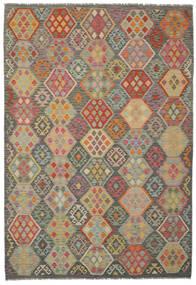 Kelim Afghan Old Style Matta 201X293 Äkta Orientalisk Handvävd Mörkgrön/Brun (Ull, Afghanistan)