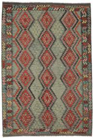 Kelim Afghan Old Style Matta 207X302 Äkta Orientalisk Handvävd Mörkgrön/Mörkbrun (Ull, Afghanistan)
