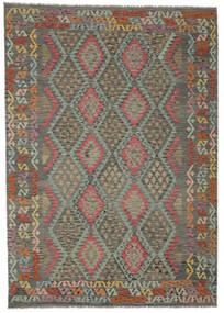 Kelim Afghan Old Style Matta 202X287 Äkta Orientalisk Handvävd Mörkgrön/Mörkbrun (Ull, Afghanistan)