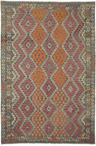 Kelim Afghan Old Style Matta 202X304 Äkta Orientalisk Handvävd Mörkbrun/Svart (Ull, Afghanistan)
