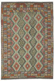 Kelim Afghan Old Style Matta 200X291 Äkta Orientalisk Handvävd Mörkgrön/Mörkbrun (Ull, Afghanistan)