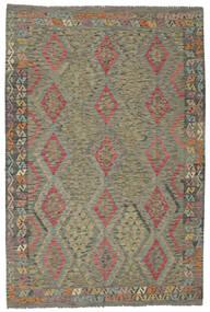 Kelim Afghan Old Style Matta 200X295 Äkta Orientalisk Handvävd Mörkgrön/Mörkbrun (Ull, Afghanistan)